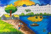 প্রাণতোষ আর্ট স্কুলের শিক্ষার্থী নুজহাত হাসান সুহা'র অঙ্কিত গ্রাম-বাংলার ছবি